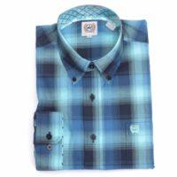 Cinch Long Sleeve Teal Blue Plaid Shirt MTW1104422