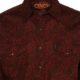 Men's Cinch Red Paisley Long Sleeve Snap Shirt MTW1322013 close pockets