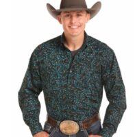 Panhandle Slim Men's Black Poplin Shirt TCD4670