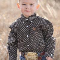 Boys Cinch Brown Long Sleeve Shirt MTW7061170