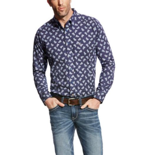 Ariat Men's Long Sleeve Button Down Navy Shirt 10021988