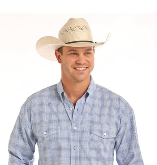 Panhandle Slim Mens Long Sleeve Blue Plaid Shirt