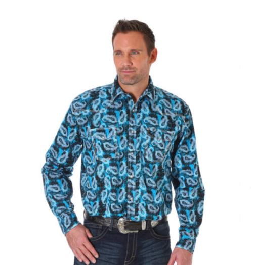 Wrangler Men's Paisley Blue Snap Shirt