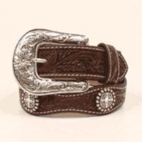Girl Western Belt Brown Scalloped Conchos
