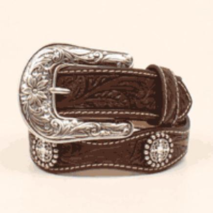 Girls Western Belt Brown Scalloped Conchos
