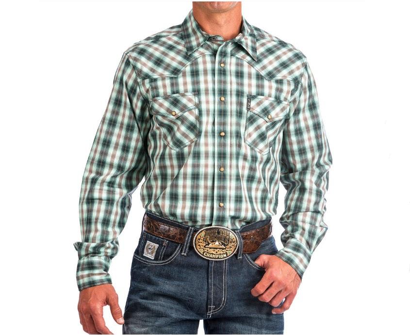 c420cec2fbe Cinch Mens Shirt Modern Fit Multi Plaid Green Long sleeve snap western