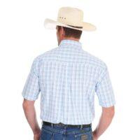 Wrangler Mens Shirt George Strait Blue Plaid Short Sleeve back_edited