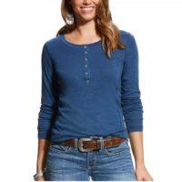 Ladies Shirt Ariat Ensign Blue Henley 10023717
