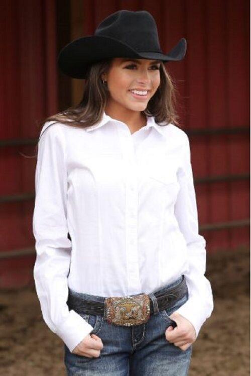 Ladies Shirt Long Sleeve White Button