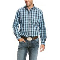 Men's Western Shirt Ariat Relentless Blue Plaid Button 10023848