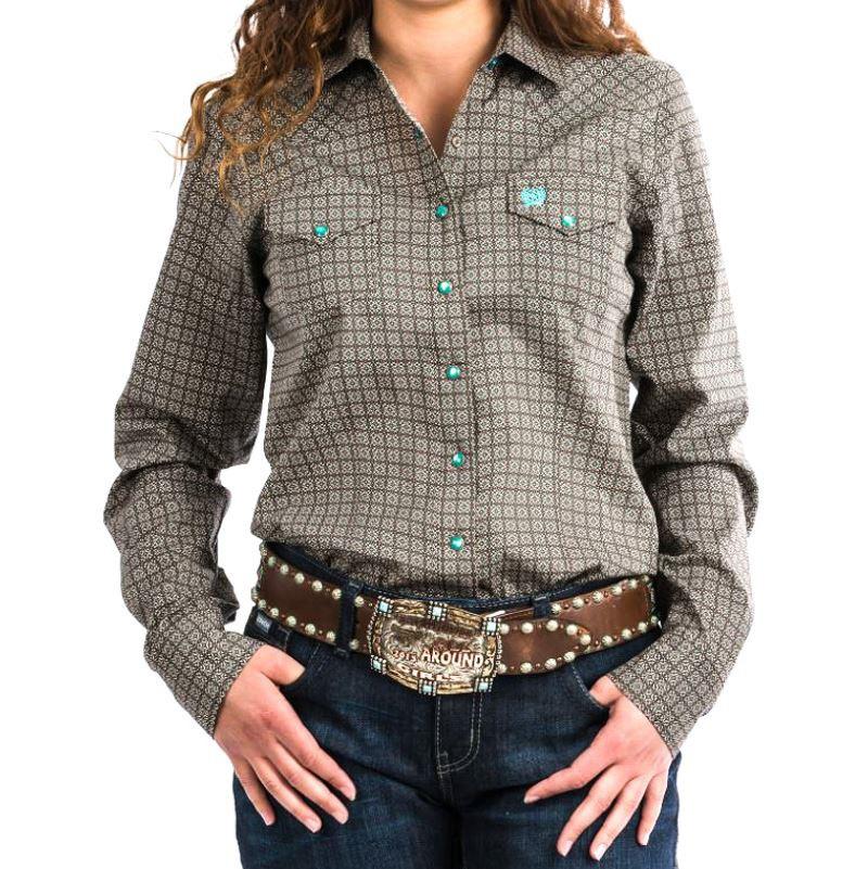 b8bc667e7 Womens Western Snap Shirt Brown Geometric Print MSW9200031