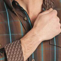 Men's Western Shirt Panhandle Chocolate Brown Long Sleeve