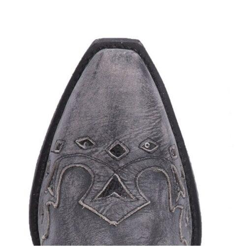 Ladies Western Boot Distressed Black Leather Snip Toe
