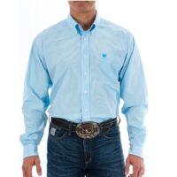 Men's Western Shirt Cinch Long Sleeve Sky Blue Mini Stripe MTW1104732