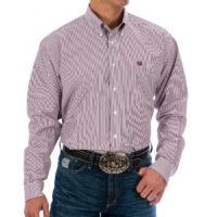 Men's Western Shirt Cinch Long Sleeve Burgundy Stripped MTW1104730