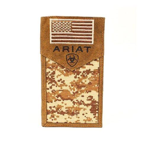 Ariat Digital Camo Medium Brown Rodeo Wallet