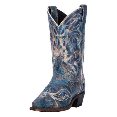Ladies Western Boot Distressed Blue Laredo 3126