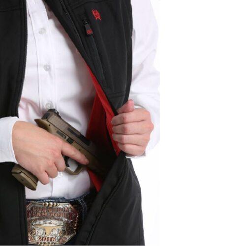 Women's Bonded Carry Conceal Vest Black n Red