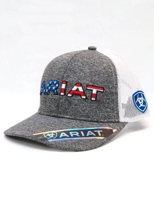 Ariat Grey Stars and Stripes Logo Cap