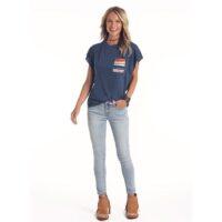 Ladies Panhandle Navy Flutter Sleeve Shirt