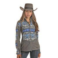 Ladies Powder River Grey Aztec Jacket 52-6668
