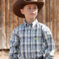 Boy's Western White Plaid LS MTW7060235