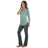 Women's Dusty Turquoise 3/4 Sleeve
