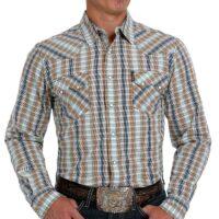 Men's Cinch LS Cream Plaid Shirt