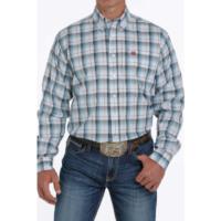 Men's Cinch Shirt LS Blue Brown Plaid