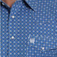Men's LS Royal Blue Print